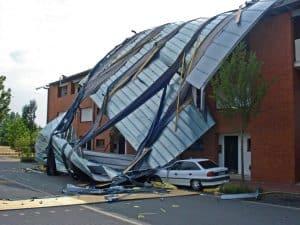 wind damaged Calgary metal roof